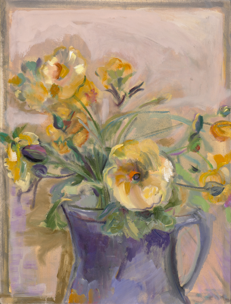 Yellow Flowers in a Purple Vase